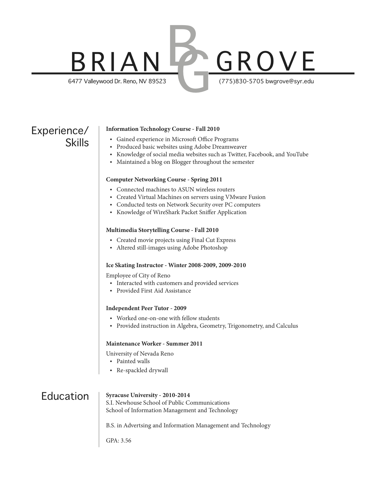 how does a professional resume look